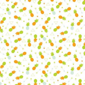 summer pinapples in orange and green gender neutral geometric arrows illustration print