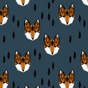 fox // navy and rust geometric fox head foxes woodland boys men navy blue