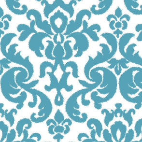 Teal Ikat Damask