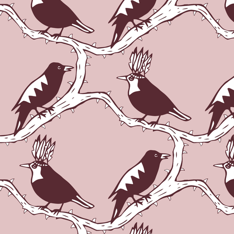 thorn birds pink purple  fabric by miamea on Spoonflower - custom fabric