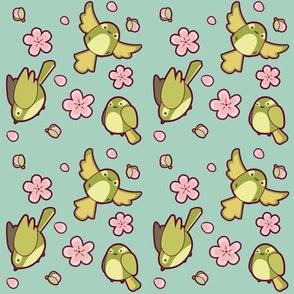 Bush Warbler and Plum Blossom