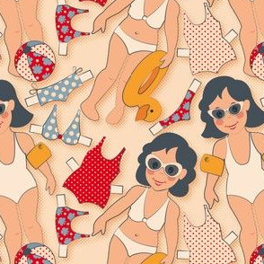 Swimming girls beige background