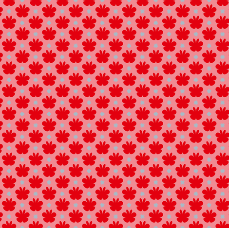 Swimming girls red flowers  fabric by leventetladiscorde on Spoonflower - custom fabric