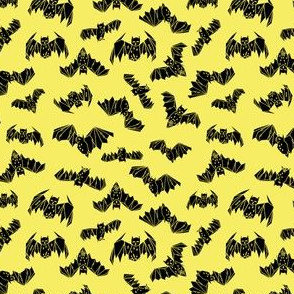 bat // bats geo geometric bright yellow halloween bat non-directional spooky scary bat print