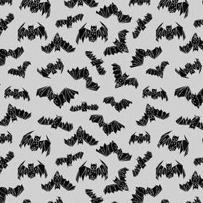 bat // geo geo bats halloween grey tiny small scale non-directional kids nursery print