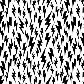 lightning bolt // black and white bw lightning bolt fabric halloween fabric andrea lauren design scary spooky comic book
