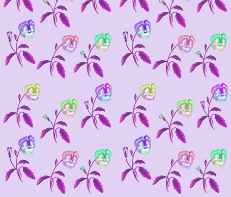 Pansy_Meadow_Lilac fabric by thistleandfox on Spoonflower - custom fabric