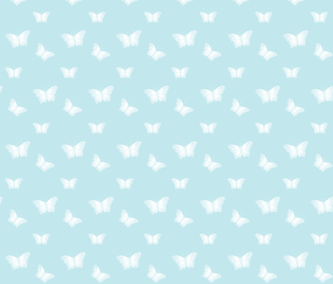 Butterflies_Pale_on_Sky fabric by thistleandfox on Spoonflower - custom fabric