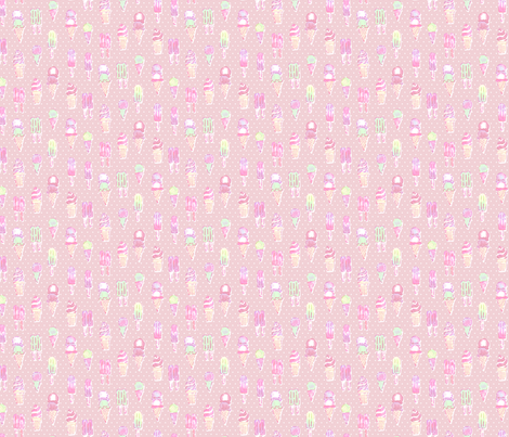 Nice Ice Creams - Pink fabric by bronhoffer on Spoonflower - custom fabric