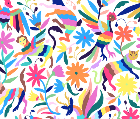 Mexican Otomi Animals - Small Multicolor fabric by jadefrolics on Spoonflower - custom fabric