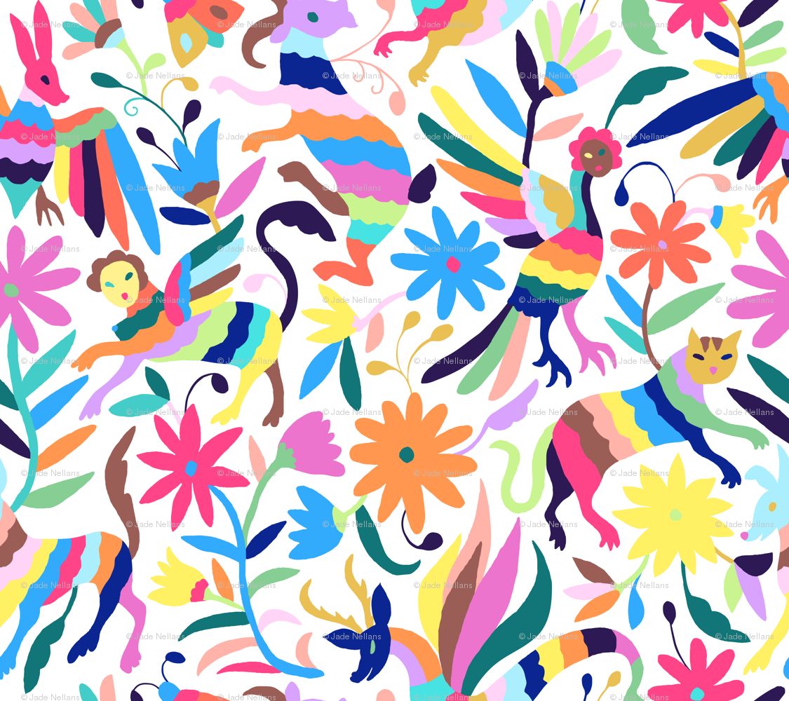 mexican otomi animals - large multicolor wallpaper - jadefrolics
