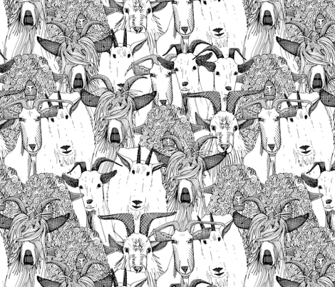just goats black white fabric by scrummy on Spoonflower - custom fabric