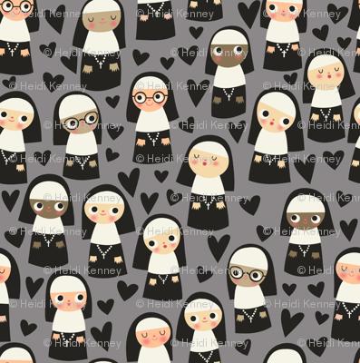 Nuns on gray