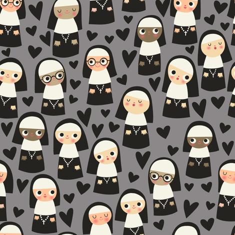 Nuns on gray fabric by heidikenney on Spoonflower - custom fabric