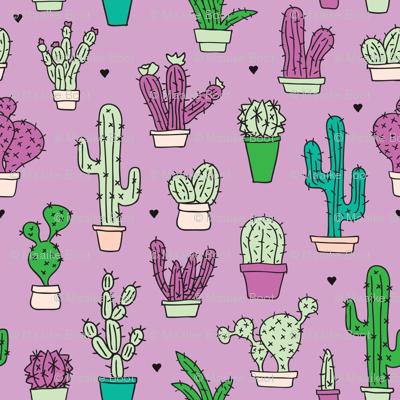 Cactus cacti summer garden botanical pink violet girls illustration trend pattern