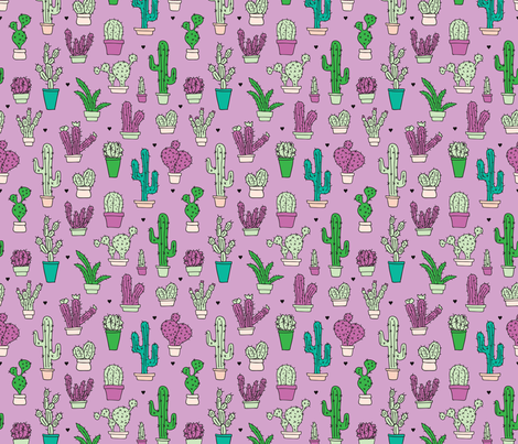 Cactus cacti summer garden botanical pink violet girls illustration trend pattern  fabric by littlesmilemakers on Spoonflower - custom fabric
