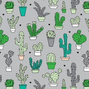 Cactus cacti summer garden botanical green and gray gender neutral pattern