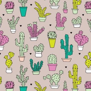 colorfl cactus garden cute retro style cacti trend illustration print for kids