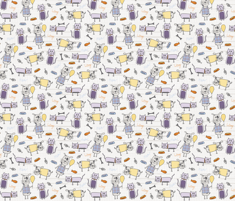 LC057_BestOfFriends_Cats_Dogs fabric by thebluemartinstudio on Spoonflower - custom fabric