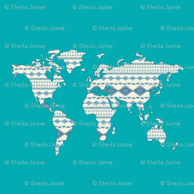 Tribal World Map in Turquoise- Large