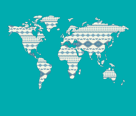 Tribal World Map in Turquoise- Large fabric by alchemyhome on Spoonflower - custom fabric