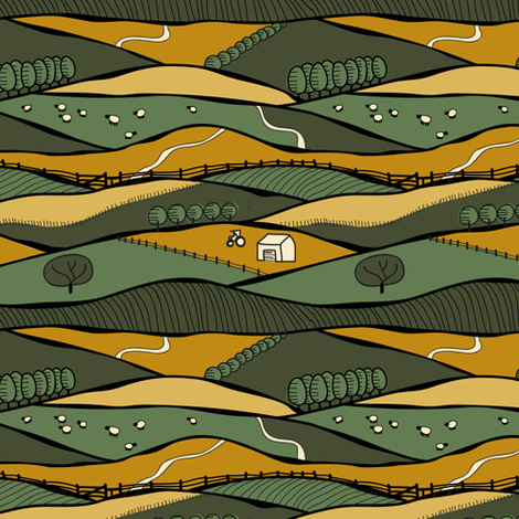 South Downs (restrained) fabric by seesawboomerang on Spoonflower - custom fabric
