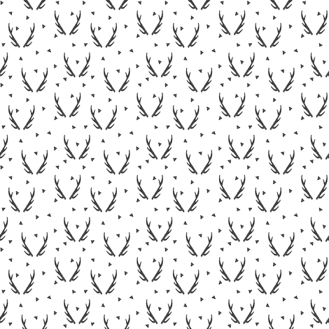 antlers // antler black and white triangle kids baby simple tiny baby  fabric by andrea_lauren on Spoonflower - custom fabric