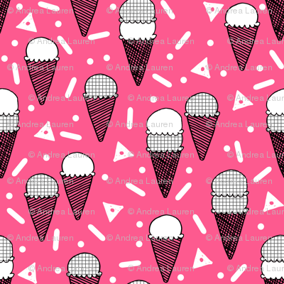 ice cream cone // pink summer tropical sweets ice creams fabric