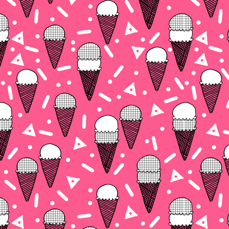 ice cream cone // pink summer tropical sweets ice creams fabric fabric by andrea_lauren on Spoonflower - custom fabric