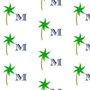 preppy palm Medium initial - kelly/ navy