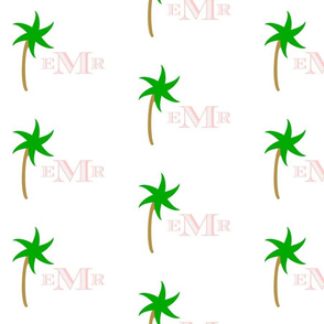 preppy palm  Medium initial - pink