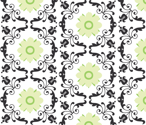 Lace onyx green flower fabric by drapestudio on Spoonflower - custom fabric