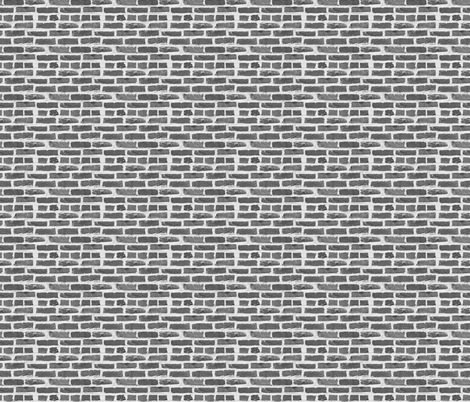 Hit A Brick Wall ~ Grey ~ Dollhouse Scale fabric by peacoquettedesigns on Spoonflower - custom fabric