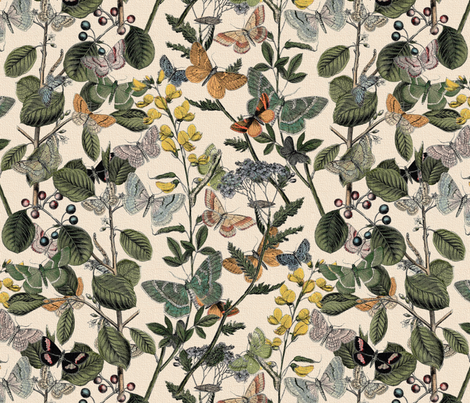 Autumn In The Butterflies' Garden  fabric by peacoquettedesigns on Spoonflower - custom fabric