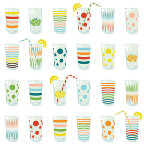 Old-Fashioned Lemonade Wallpaper & Gift Wrap || vintage glassware kitchen recipe atomic midcentury modern summer geometric stripes polka dots atomic lemon