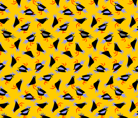 Black_cockatoos_yellow fabric by malolo on Spoonflower - custom fabric