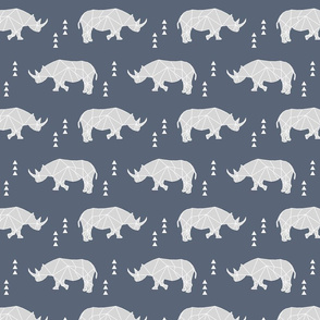 Geometric Rhino // dark blue