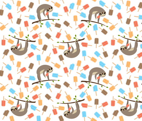 Summer Sloths fabric by viperprints on Spoonflower - custom fabric