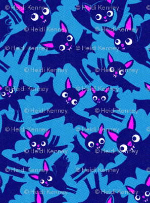 Halloween Bats in boo blue