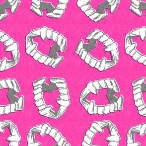 vampire teeth hot pink