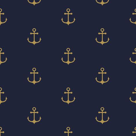 Anchor - Gold Navy fabric by kimsa on Spoonflower - custom fabric