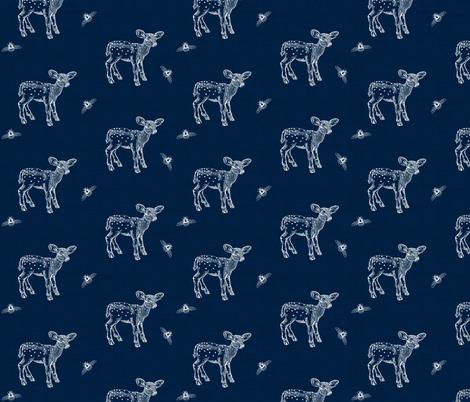 Fawn and Bees on Dark Denim Blue fabric by thistleandfox on Spoonflower - custom fabric