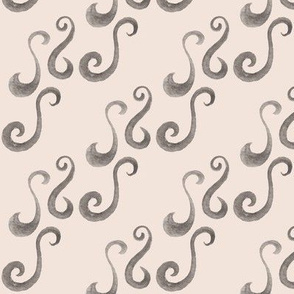 Diagonal Gray Watercolor Scrollwork Fabric Peach