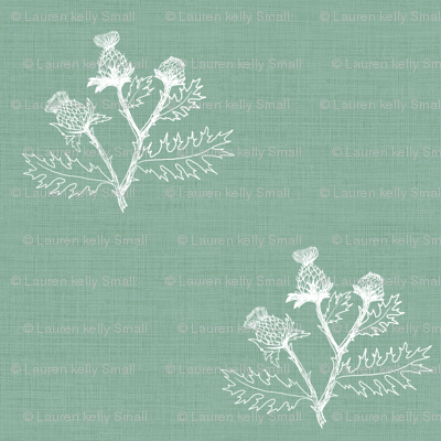 Thistle Sketch on Meadow Green Linen