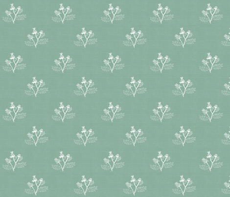 Thistle Sketch on Meadow Green Linen fabric by thistleandfox on Spoonflower - custom fabric