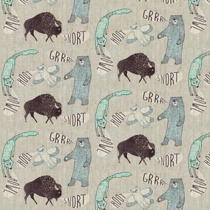 Grr.Howl.Hoot.Snort. (SMALL aqua)