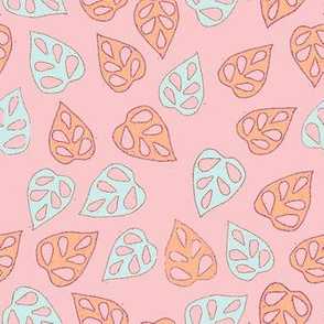 Colored leaves dancing in pastel