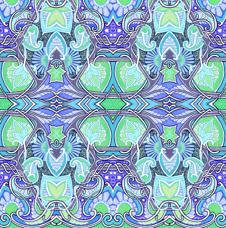 Flower Paisley Blue Green Thing fabric by edsel2084 on Spoonflower - custom fabric