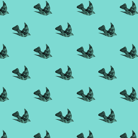 Nautical Sparrows fabric by lovelylepidoptera on Spoonflower - custom fabric
