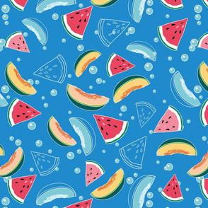 Watermelon&Melon on blue water